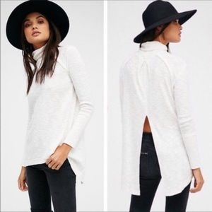 We the Free People Split Back Turtleneck Tunic Top